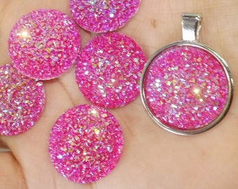 AB hot pink 25mm flat faux druzy Cabochons 6pcs (B4:5-344)