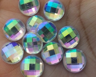 Ab 10mm Rhinestone resin cabochons- 10pcs  (F12:16-719)