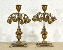 Brass Candlestick Pear Trees- Beautiful Rare Mottehedeh Candle Holder Set with Fruit, Leaves, and Branches