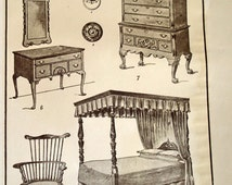 Antique Print Colonial Furniture Windsor Chair Post Bed  Dresser Furniture American Culture Engraving Lithograph wall art home decor c1900