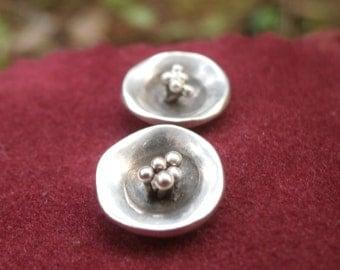 Silver Stud Earrings, Domed earrings, Fine Silver Stud Earrings, Hammered Earrings, Flower Stud Earring, Women's Earrings, Mother's Day Gift