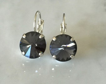 Graphite Crystal Earrings, Swarovski Graphite Earrings,  Swarovski Gray Crystal Earrings, Bridesmaid Earrings