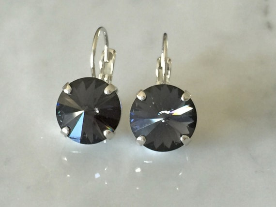 Graphite Crystal Earrings, Swarovski Graphite Earrings,  Swarovski Gray Crystal Earrings, Bridesmaid Earrings