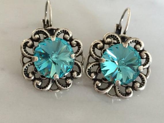 Light Turquoise Crystal Earrings, Swarovski Light Turquoise Earrings, Swarovski Blue Earrings