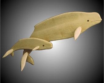 Beluga Mother with Calf Wall Sculpture
