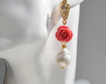 Earrings with Baroque pearls and a carved coral