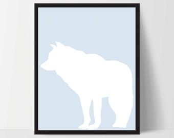 Animal Wolf Wall Art, Unframed, Artwork, Home Decor, Modern Contemporary, Print Art, Boho, Nursery, Baby, Blue, 12x16 Inches