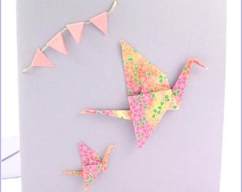 Greeting card, crane origami