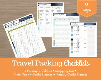 Travel Packing Lists / Vacation Checklist / Outfit Planner / Shopping List