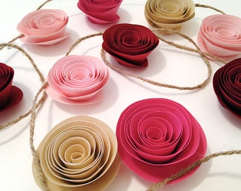 Baby Shower Garland - Paper Flower Garland - Girl Garland - Pink Garland - Pink Flower Garland - Paper Rose Garland - Rose Quartz Shower