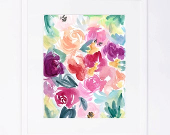 Abstract Watercolor Floral Cluster