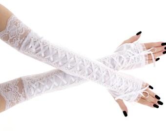 Bridal white velvet lace fingerless bridal gloves, bridesmaid gloves, lace velvet wedding women's fingerless gloves, romantic glove 1090E