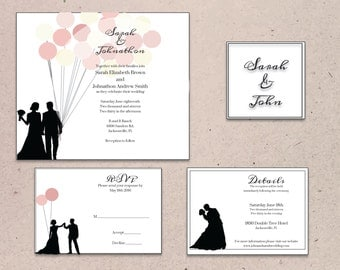 Couple With Balloons Invitation Suite