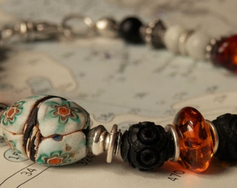African Trade Mosaic Millefiori Amber Mother of Pearl French Tagua Sterling Silver Bali Beaded Bracelet - 8.25