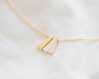 Triangle / Triple / Necklace / Pendant / Silver / Gold / Rose Gold / Hipster / Trendy / Everyday / Simple / Dainty / Minimalist / Petite