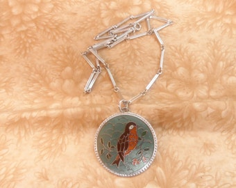 Sarah Coventry silver tone robin blue green necklace bird vintage jewelry
