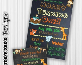 Noahs Ark Birthday Invitation, Animals, Chalkboard Invitation, Announcement, Invite, Digital, Any age