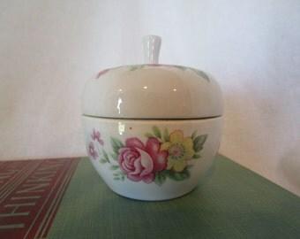floral trinket box, trinket dish, jewelry storage, shabby chic dish, dresser decor, vanity dish, trinket box, jewelry box, porcelain dish