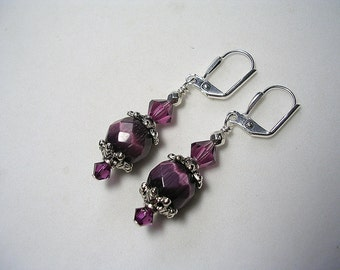 Purple Earrings Dark Amethyst Crystals Silver Accents Swarovski Shimmery Cats Eye Earrings Dangle Earrings Leverback Hooks Wire Wrapped
