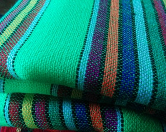 1-yard of lime green stripe pattern Mexican Cambaya fabric (6.5 continuous yards available)