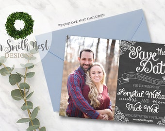 Save the Date / Vintage Chalkboard DIY PRINTABLE Customizable Digital Print