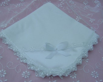 A Pretty White Lace Edged Baby/Receiving Blanket.