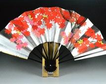 maple leave design fan, japanese paper fan, maple leave hand fan, japanese maple leave fan, fan japanese maple leave