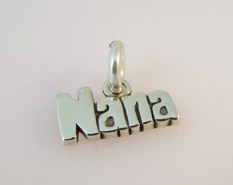 "Sterling Silver Small ""NANA"" Charm Pendant Words Grandma Grandmother .925 Sterling Silver New wr04"