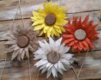 Burlap Sunflower, Burlap Flower, Rustic, Country Wedding, Decoration