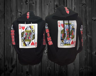 King and Queen Couple Black Hoodies