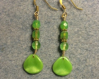 Opaque lime green Czech glass rose petal dangle earrings adorned with lime green Czech glass beads.