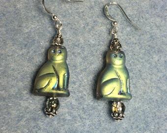 Metallic gray Czech glass cat bead dangle earrings adorned with gray Czech glass beads.