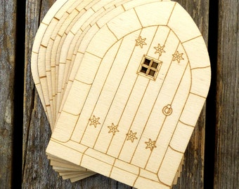 10x Wooden Door Gothic Style C Craft Shapes 3mm Plywood Buildings Architecture