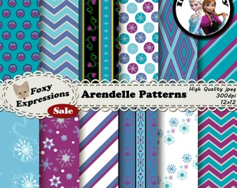 Arendelle Patterns inspired by Frozen comes with Anna and Elsa dress patterns, snow flurries, snowflake polka dots, etc. In blue and purple.