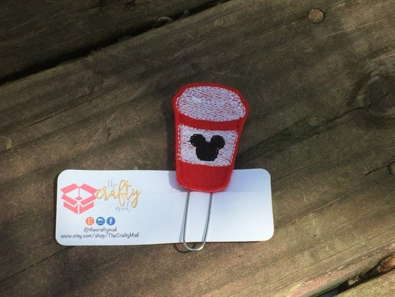 Red Coffee Paper Clip/Planner Clip. Mouse ear planner clip. Mouse planner clip. Coffee planner clip. Character planner clip