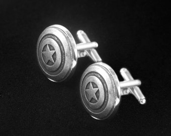 Silver Pentagram Cufflinks -Mens Cufflinks -Captain America Cuff Links -Wedding Cufflinks -Super Hero Cufflinks