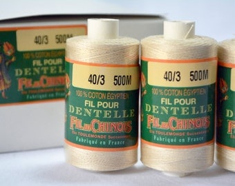 Fil Au Chinois BEIGE or OPTICAL WHITE 40/3 Egyptian Cotton Lace Thread - 500m reel - made in France