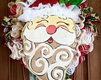 Clearance!  Christmas Wreath, Santa Wreath, Burlap Christmas Wreath, Mesh Christmas Wreath, Front Door Wreath, Santa Burlap Wreath