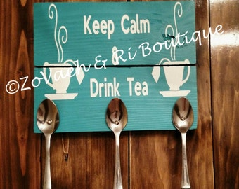 Keep Calm & Drink Tea, Keep Calm Drink Coffee, Home Decor, Spoon Art, Wall Hanging