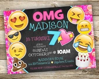 Emoji Birthday Invitation - Emoji Girl Invitation - Emoji Fun - OMG Tween Birthday Party