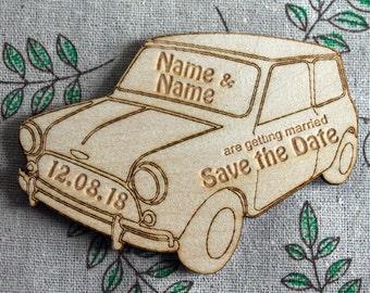 Personalised Classic Mini Cooper Wooden SAVE THE DATE Wedding or Civil Partnership Fridge Magnet