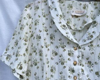 1950s Cotton Green Floral Sundress Sz. LARGE