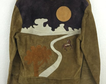 Awesome Vintage Custom Hippie Rockstar Pony Landscape Leather Jacket M east west
