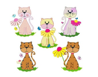 Instant Download - Machine Embroidery - Spring Cats - Full Set - 5 designs