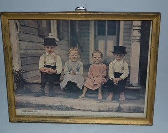 Framed / newspaper photo / Amish children / Pennsylvania / 1937 / photo / newspaper / Amish / Children / 1930s / vintage photo / photograph