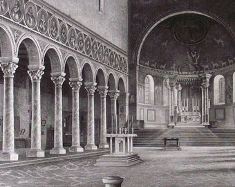 ca. 1870 - Church San Apollinare in Class Ravenna Italy - S. Voegelin - Antique Engraving Print Monument Architecture. 145 years old.