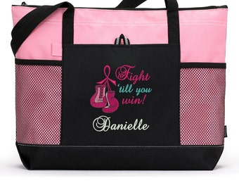 Fight Til You Win Personalized Chemo, Cancer Awareness Zippered Tote Bag With Mesh Pockets, Beach Bag, Boating