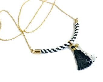 Black and White Stripe Tassel Necklace | Curved Rope Pendant | Monochrome Cord Jewellery
