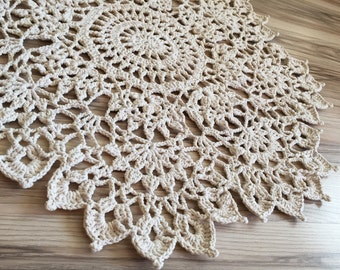 Round Crochet Rug - Off White Crochet Rope Rug - Crochet Floor Decoration - Crochet Carpet - Lace Doily Rug - 73 cm - 29 inches - Handmade
