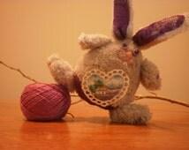 Original Bunny Stuffed Animal Rabbit OOAK Soft toy Christmas gift Lavender field Provence Miniature painting  Handmade Gift Heart France